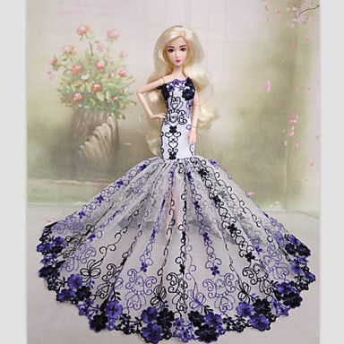 Barbie Doll Evening Party Dress with Lavender Embroidery 4960170 2016 – $5.99