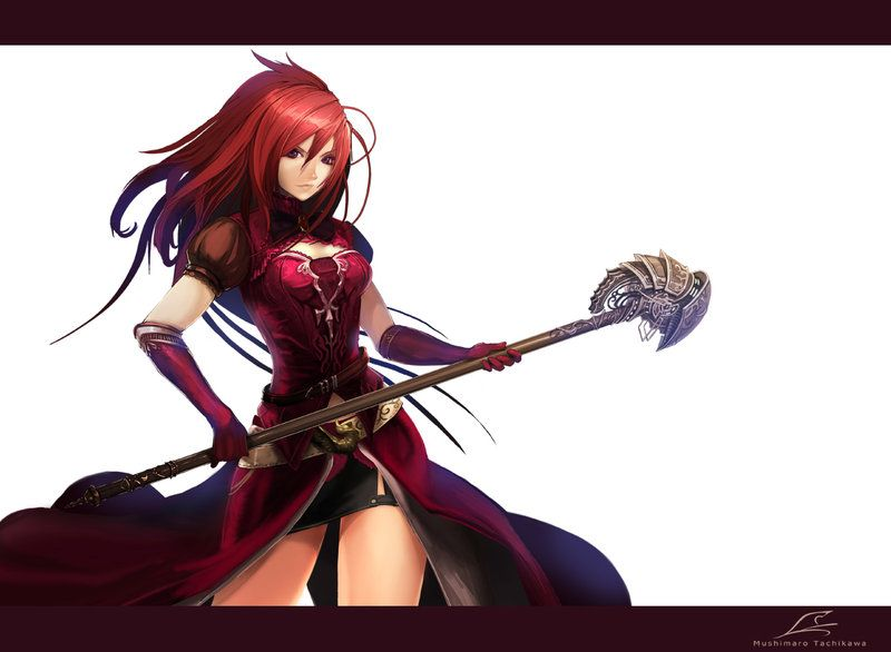 Red Hair Mage With Staff Amine Manga Witch By Masterbimo