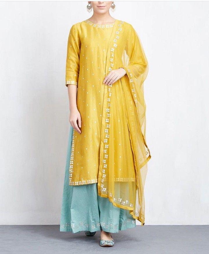 1d1399bf3e Silk kurti with contrast plazo a d self dupatta. It's beautiful combination