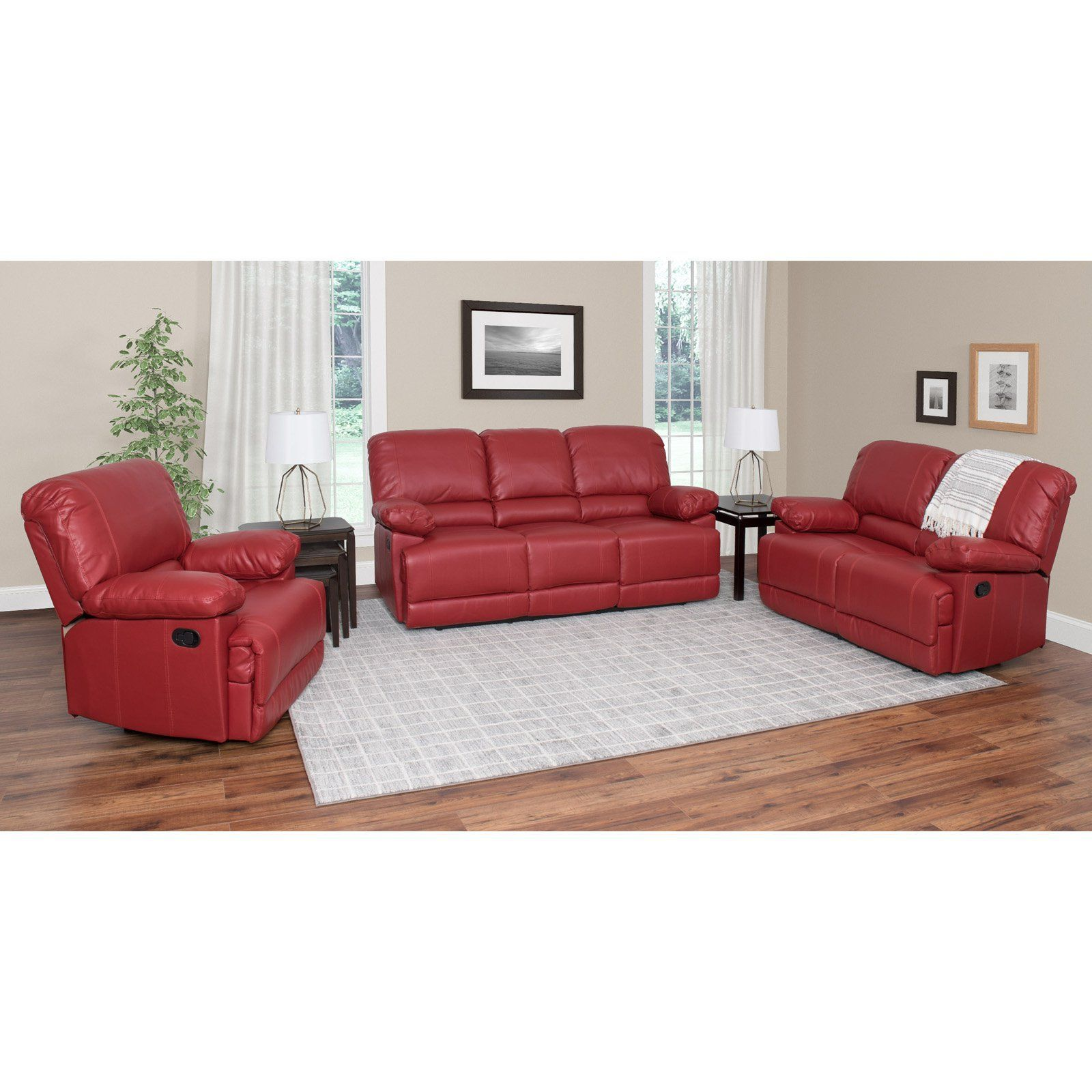 Corliving Lea 3 Piece Bonded Leather Reclining Sofa Set Products