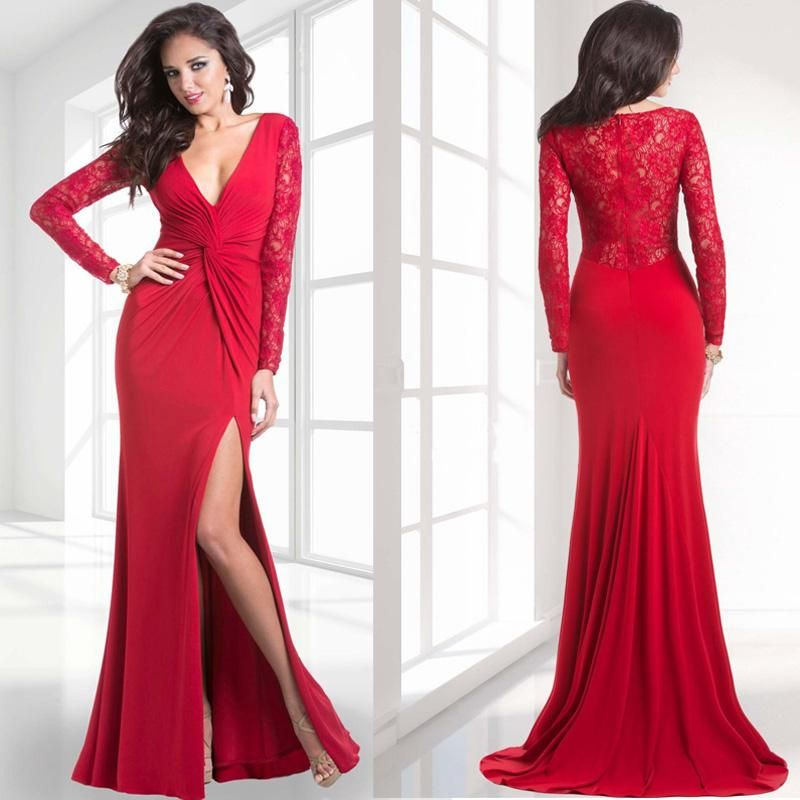 Creative Red Evening Dress Gold Lace Appliques Engagement Prom Dresses Women