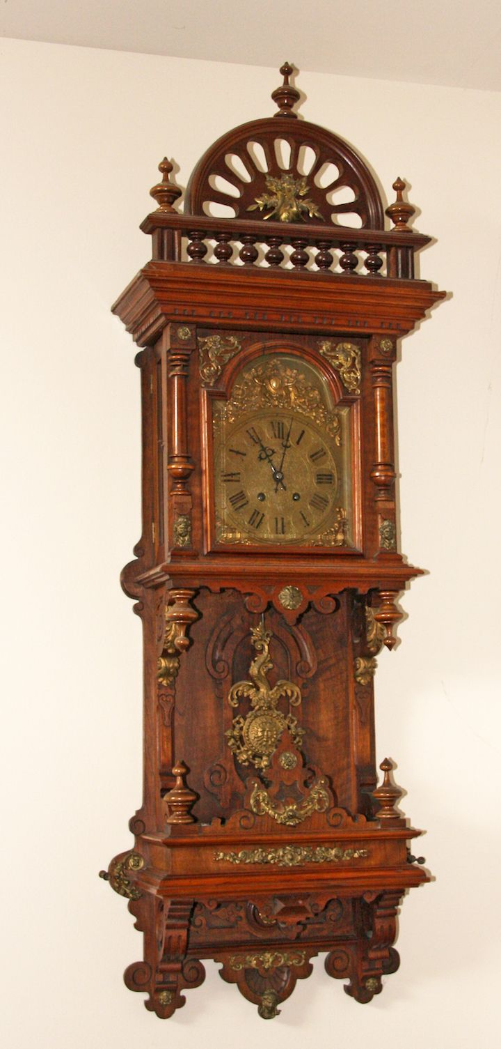 Rare gorgeous antique gustav becker wall clock at 1900 2 horses on balcony freeswinger at antique clock amipublicfo Images