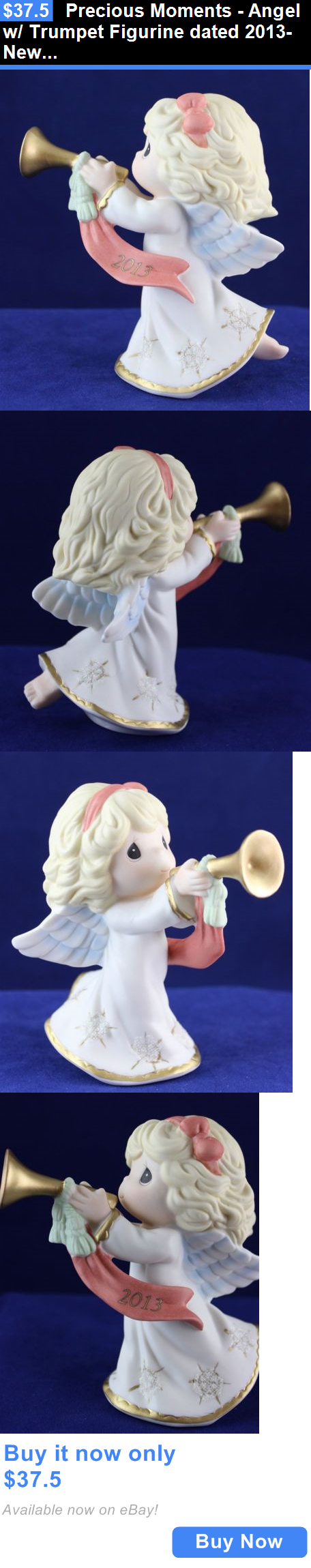 Cherished Teddies Christmas: Precious Moments - Angel W/ Trumpet Figurine Dated 2013- New In Box BUY IT NOW ONLY: $37.5