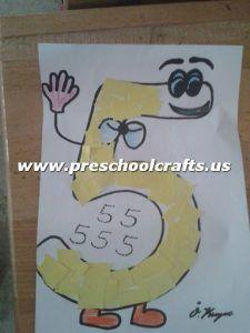 Number 5 Five Craft Ideas For Kids Preschool And Kindergarten