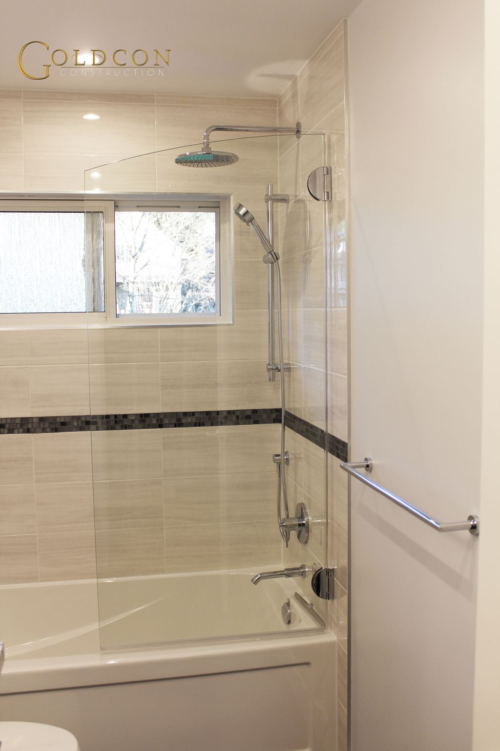 Beautiful bathroom renovation project featuring 8 x 20 for 12x24 window