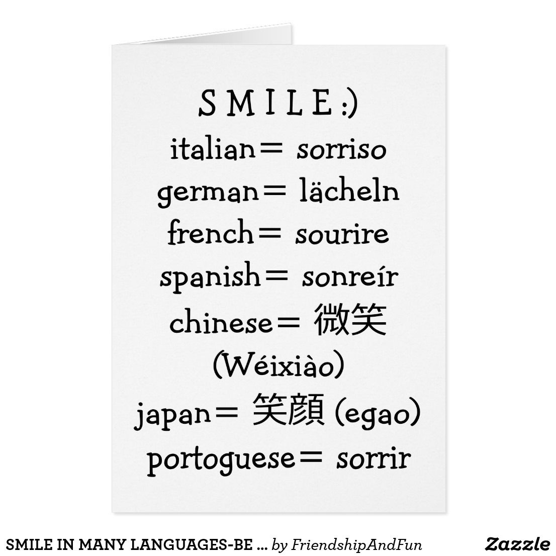 Smile In Many Languages Be Happy On Your Birthday Card Pinterest