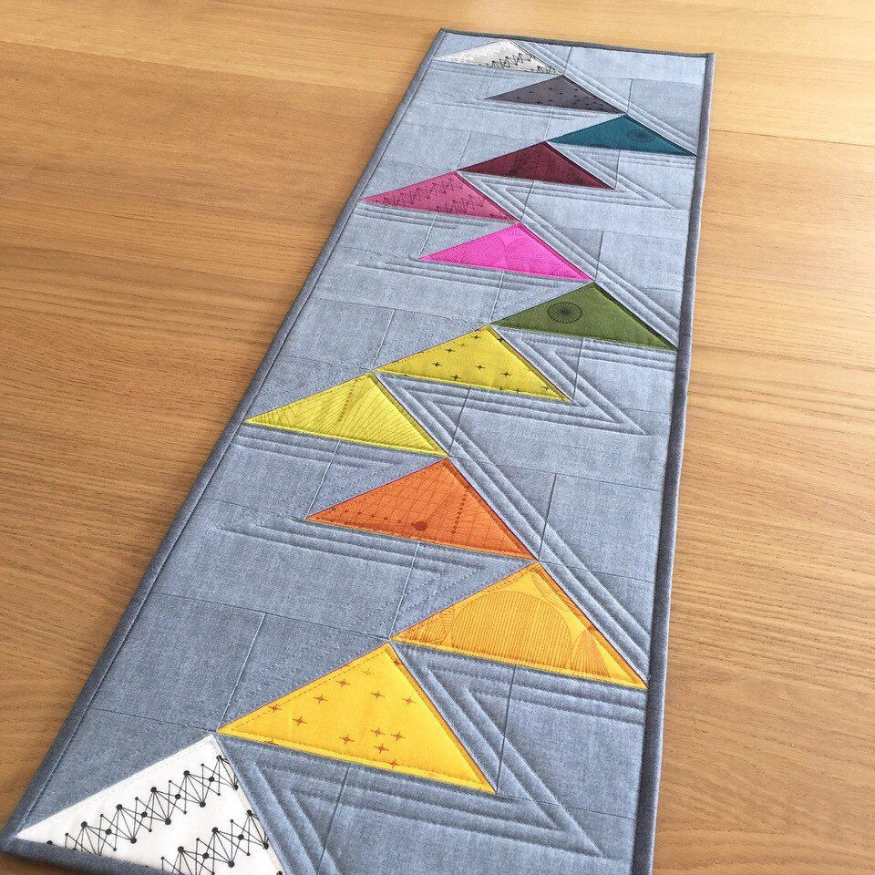 Modern Quilted Table Runner Rainbow Table Runner Grey Table Topper Flying Geese Table Mat Quilted Wall Hanging Quilted Wall Hangings Flying Geese Quilt Straight Line Quilting