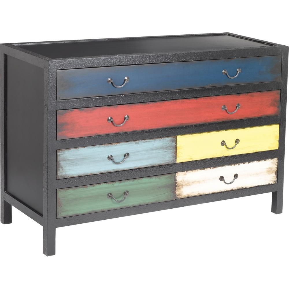 Kare Chest Drawers Black Multi Color Hand Painted Drawers