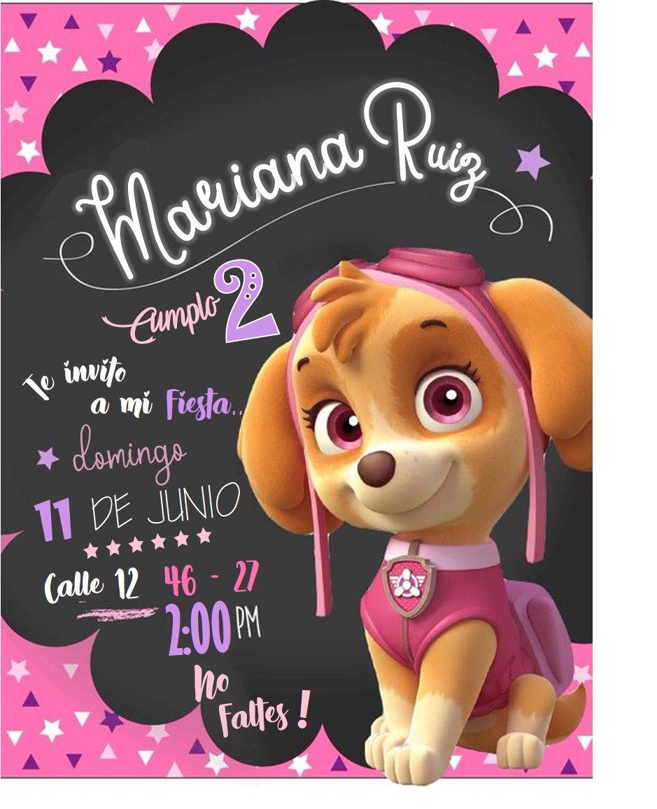 Tarjeta De Cumpleanos De Skye Patrulla Canina Invitaciones De