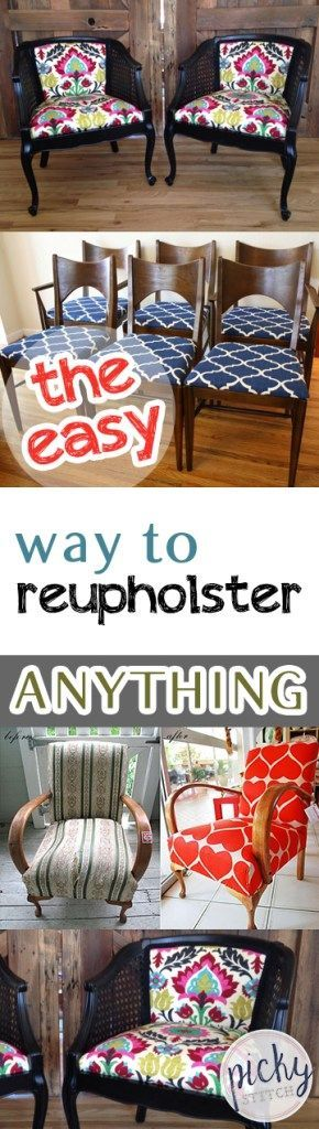 The Easy Way to Reupholster ANYTHING- How to Re Upholster Anything, Reupholster Furniture, How to Repholster Your Furniture Easily, Easy Ways to Repholster Furniture, DIY Home, DIY Home Decor, Home Remodeling Projects, Remodel Your Furniture, Popular Pin