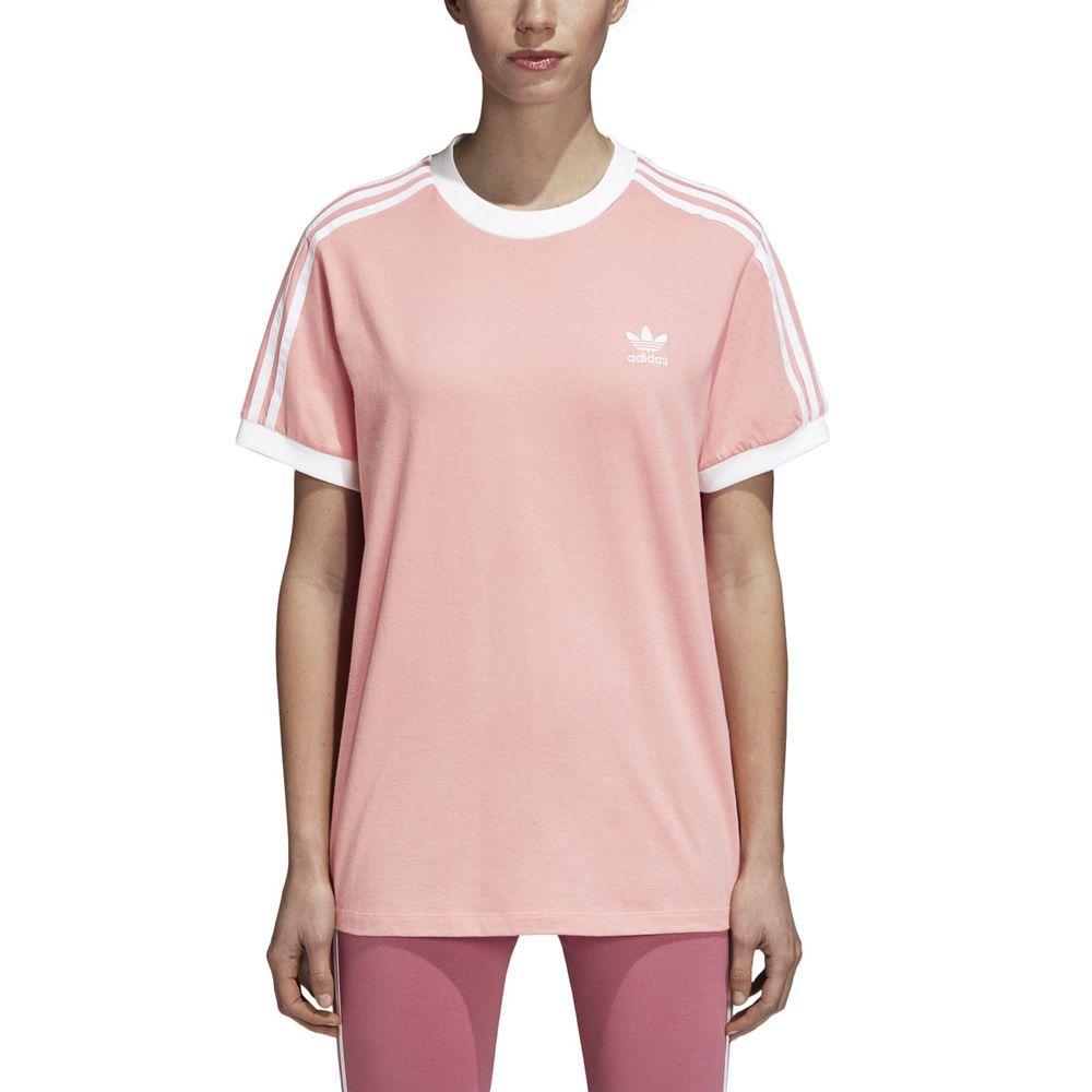 Adidas Originals Women's 3 Stripes Tee T Shirt Pink Shirt