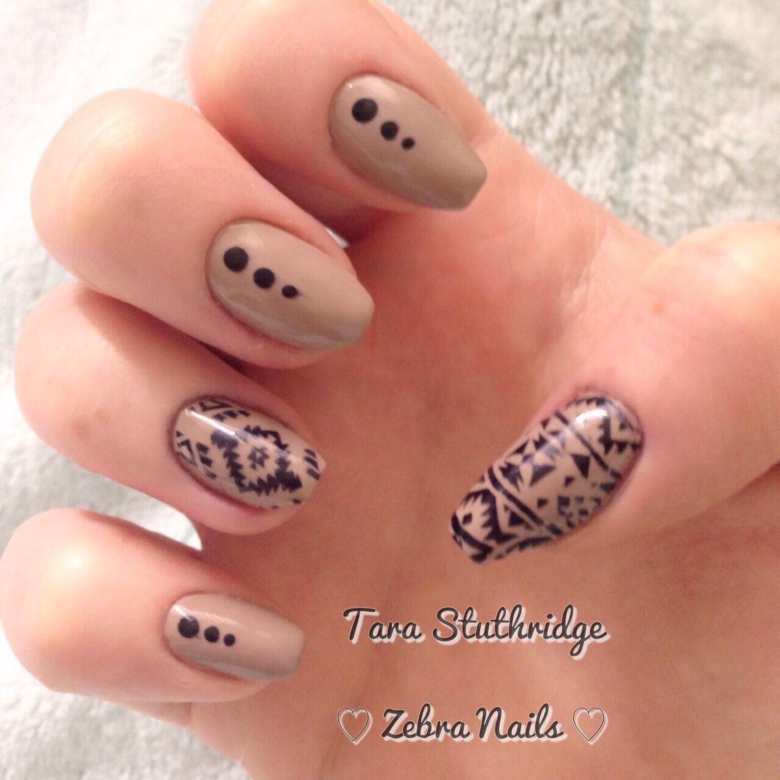 Aztec nude nail art