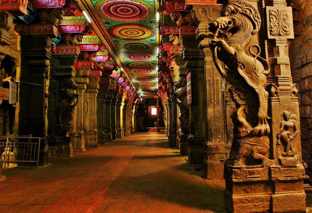 Ancient Hindu Mandir (temple) Ceiling, Madurai, India