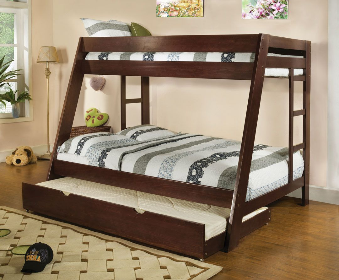 Cm Bk358exp Arizona Light Espresso Wood Finish Twin Over Full Bunk Bed Bunk Bed With Trundle Bunk Bed Plans Bunk Beds