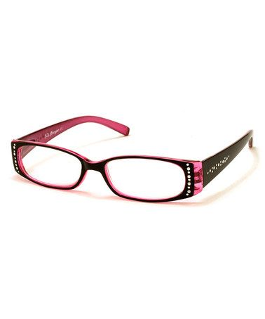 This Black & Pink Rhinestone Cascade Readers by A.J. Morgan is perfect! #zulilyfinds