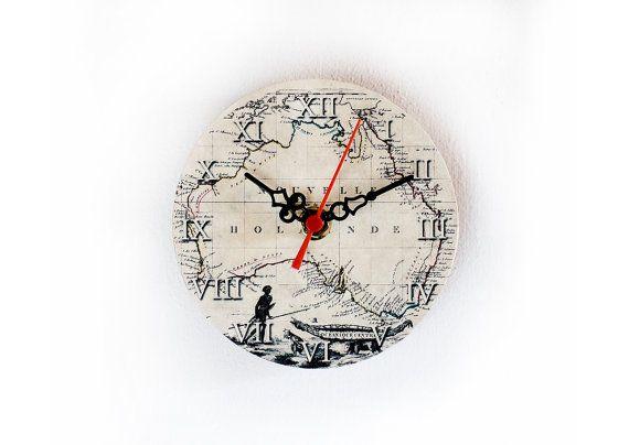 Australia wooden clock magnetic clock vintage clock little clock australia wooden clock magnetic clock vintage clock little clock small clock worldmap clock 5 inch 12 cm ohtteam gumiabroncs Images