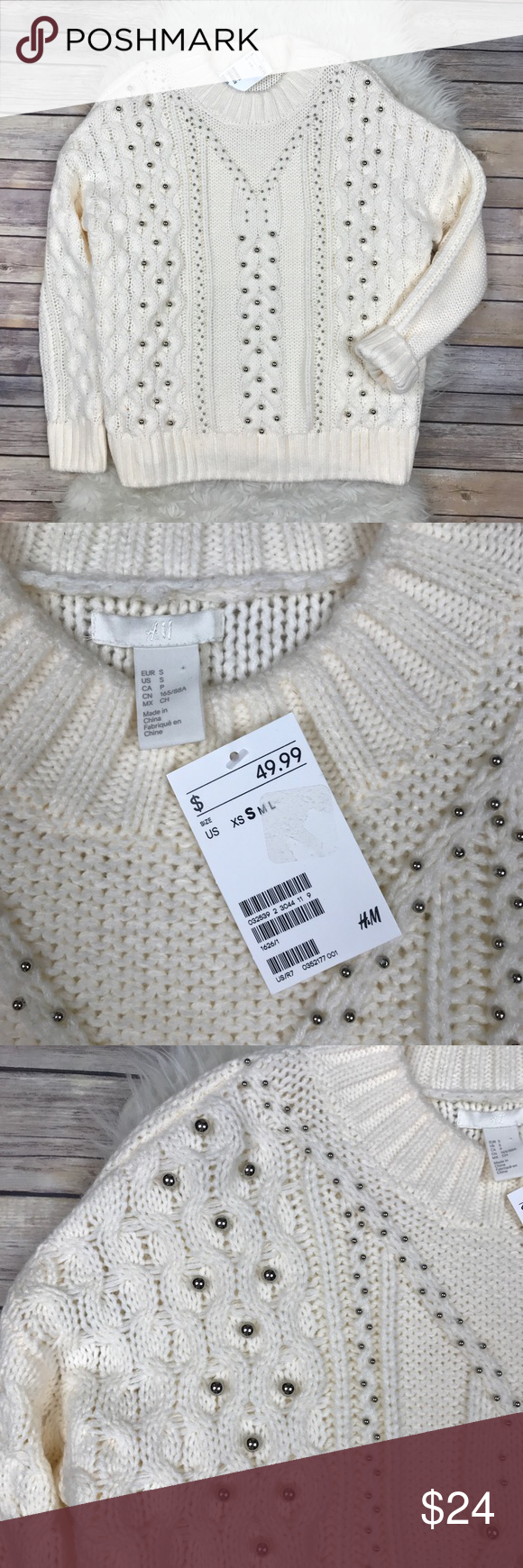 ad8cbbc219e45 H M Beaded Cable-Knit Oversized Sweater New with tags H M Oversized Silver  Beaded Sweater. Size Small. 100% acrylic. Bust 54