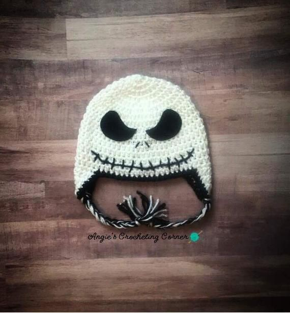 Crochet Jack Skellington Flap Hat Halloween Hat The Nightmare