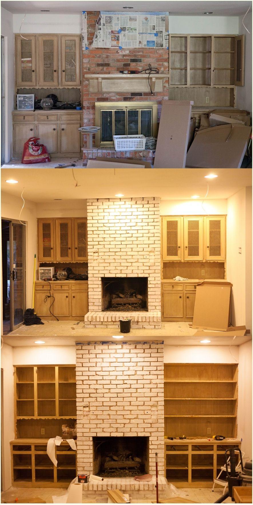 easy diy whitewashed fireplace | Decorating Ideas | Pinterest ...
