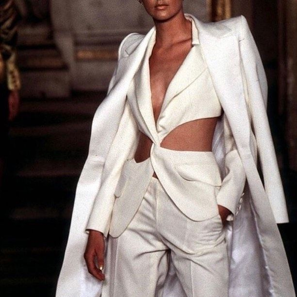"""A Vision of a Work of Art on Instagram: """"V. The White pantsuit by Alexander Mcqueen for Givenchy 1997"""""""