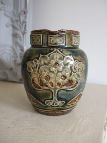 C1900 Royal Doulton Stoneware Pottery Cream Jug Art Nouveau Maud Bowden Pitchers