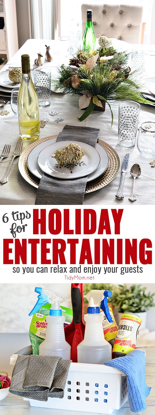 Holiday entertaining is upon us. One of my favorite holiday entertaining tips is to keep an emergency clean up kit handy for party spills and mishaps. 6 HOLIDAY ENTERTAINING TIPS - at TidyMom.net in partnership with @scotchbriteUS #cleanfeelsgood
