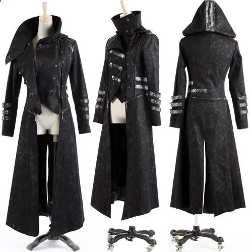 MENS STEAMPUNK GOTHIC HOODED LEATHER MILITARY STYLE TRENCH COAT NEW