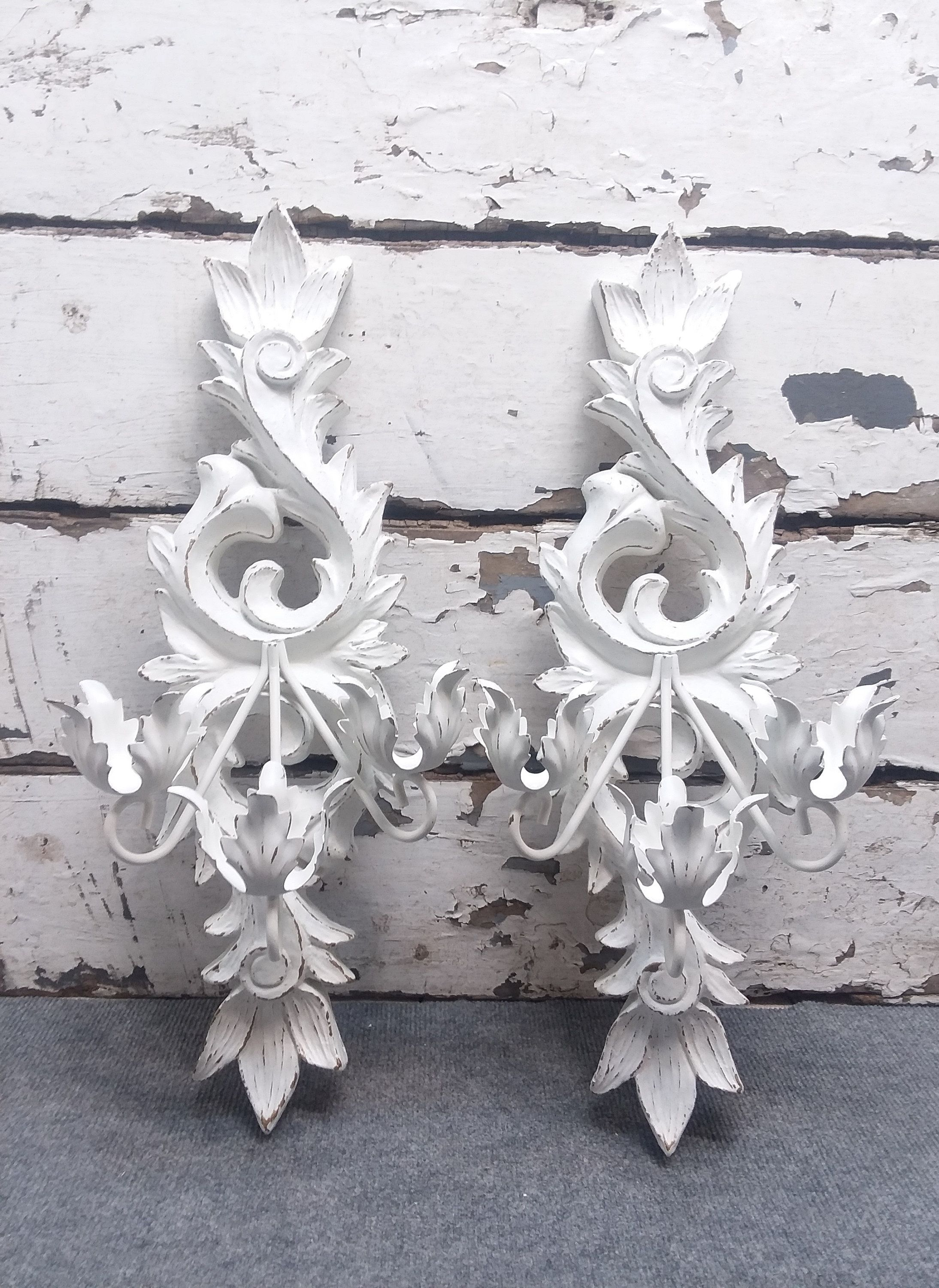Large Shabby Chic Vintage Ornate Candle Wall Sconces Painted Etsy Shabby Chic Candle Shabby Chic Candle Sconces Wall Candles