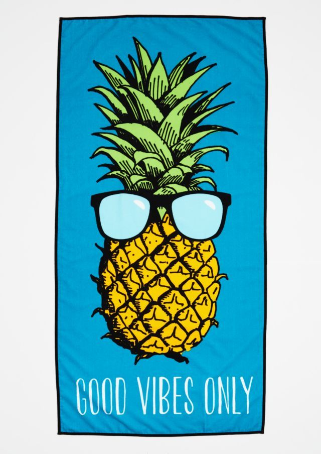 Image Of Good Vibes Pineapple Beach Towel Summer Lovin