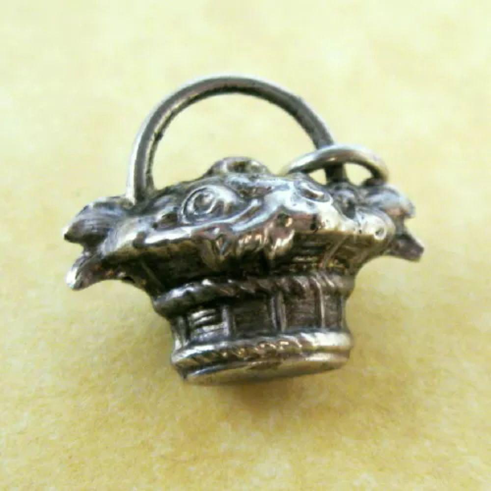Vintage antique art nouveau german silver charm basket roses flowers
