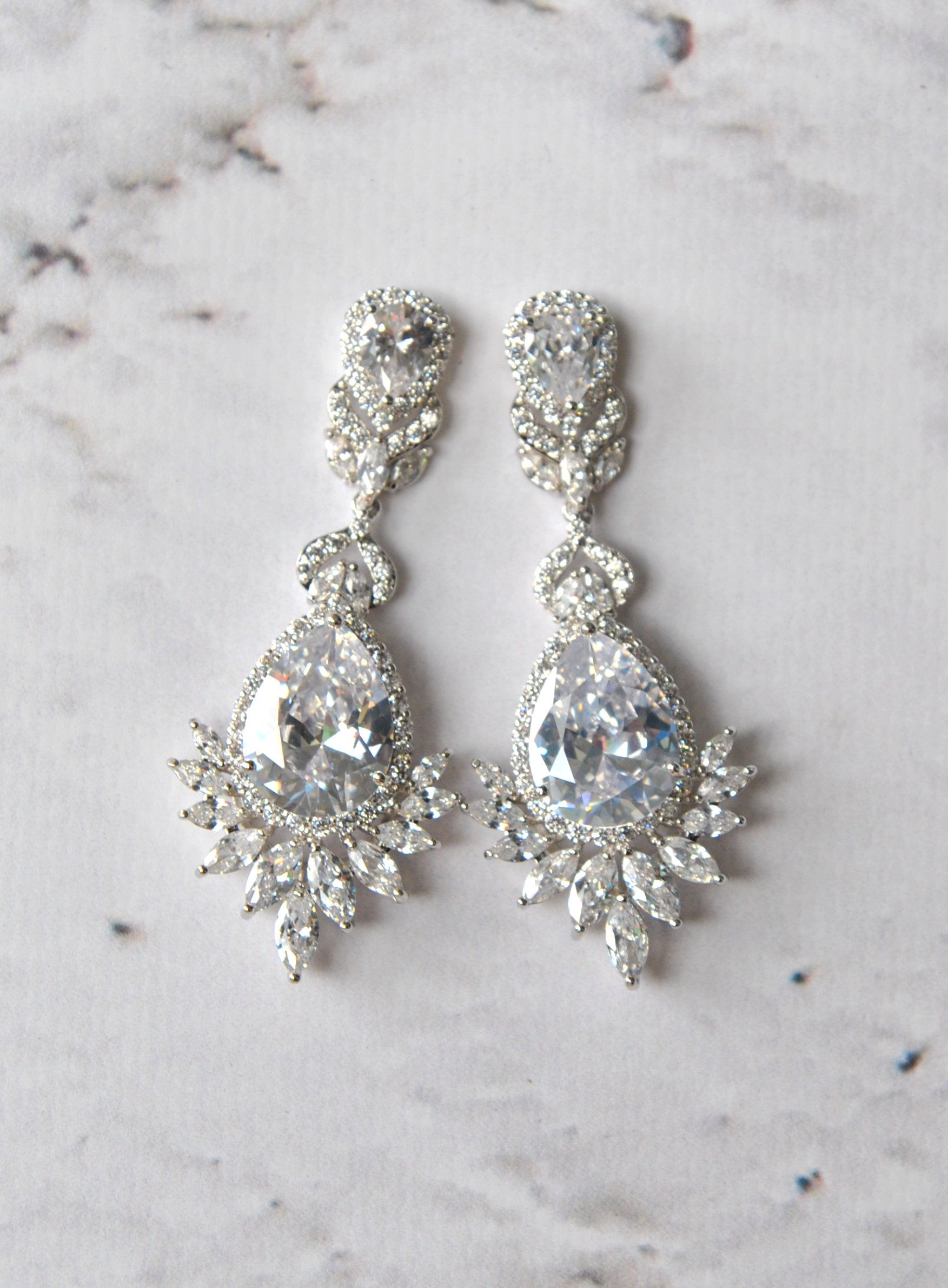 d43ccf49ad1a2 LAUREN Bridal Earrings, crystal Wedding earrings, Swarovski earrings ...