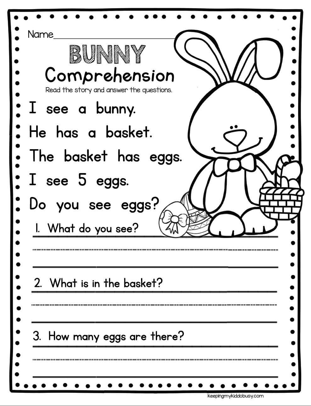 Worksheets Worksheet-for-kindergarten april in kindergarten freebies literacy activities bunny comprehension easy way to practice worksheet activity for