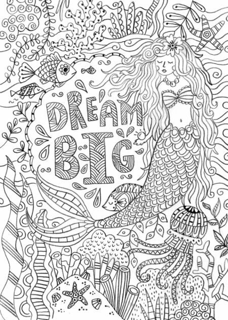 Dream Big Mermaid Coloring Page By Felicity French Mermaid