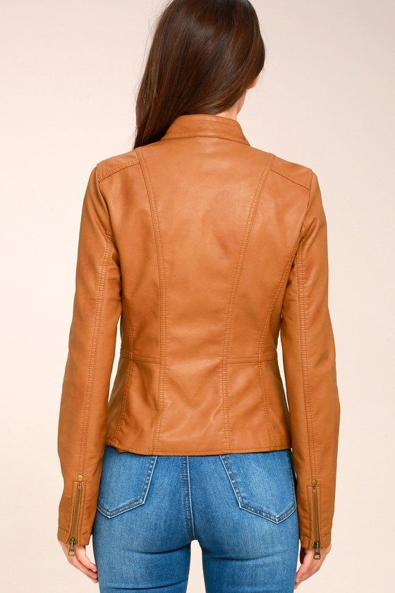 Peace of Mind Tan Vegan Leather Moto Jacket 5
