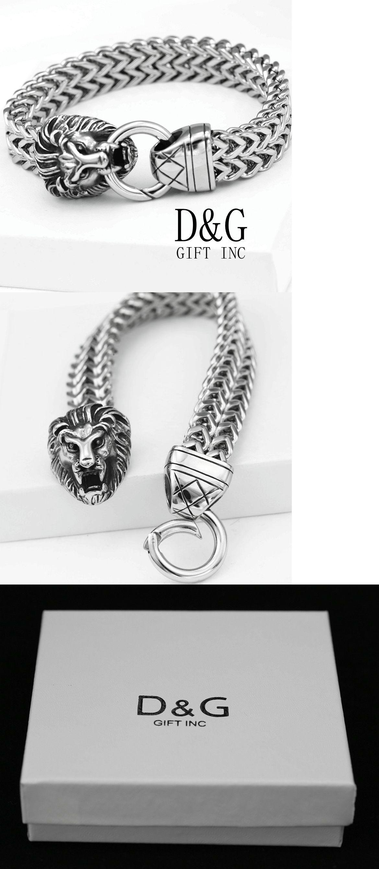 Bracelets dg mens silverstainlesssteellionheadwidth