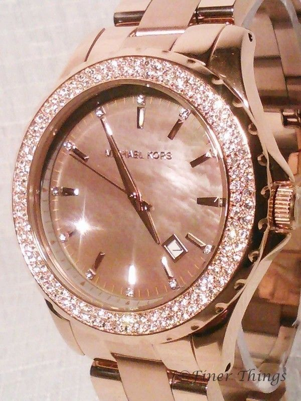 Nwt Michael Kors Runway Mother Of Pearl Rose Gold Ladies Watch