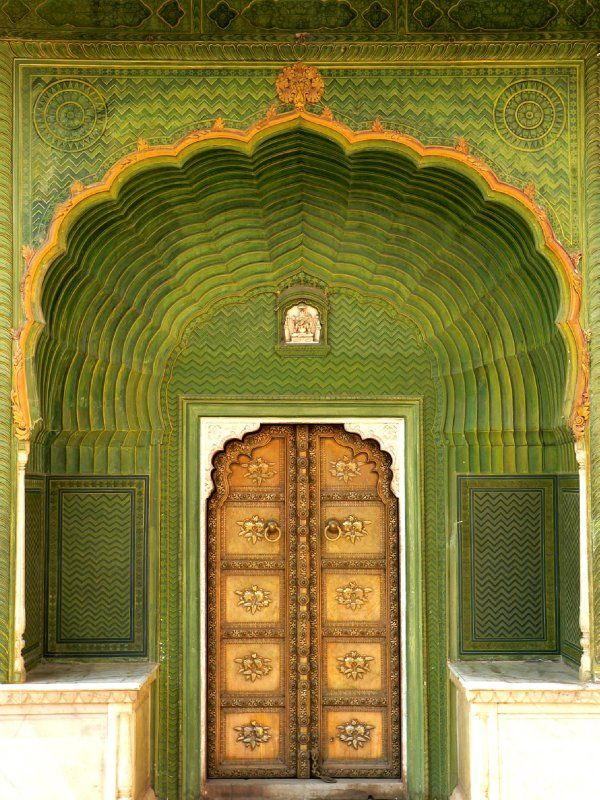 City Palace Jaipur Rajasthan India Beautiful Doors Green Door Unique Doors