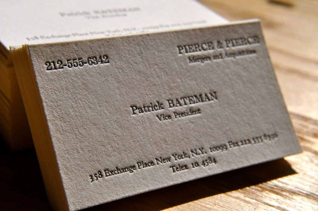 The Business Card Of American Phychos Patrick Bateman Httpswww
