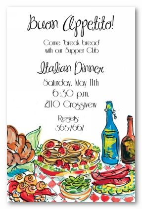 Italian Dinner Personalized Party Invitations By Address To