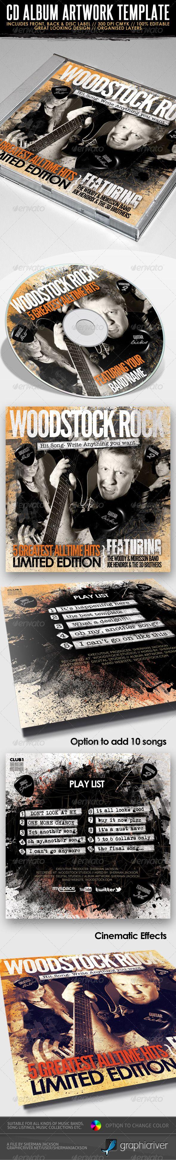 Woodstock Rock Compilation CD #Artwork #PSD - #CD & DVD #Artwork #Print #Templates Download here: https://graphicriver.net/item/woodstock-rock-compilation-cd-artwork-psd/2492902?ref=alena994