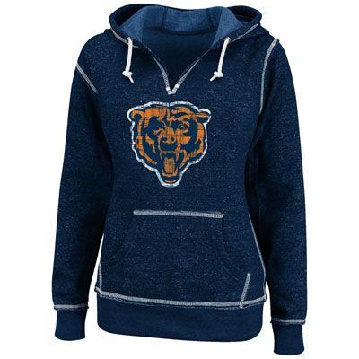 ea886dbb Chicago Bears Navy Women's O.T. TD II Marled Hooded Sweatshirt ...