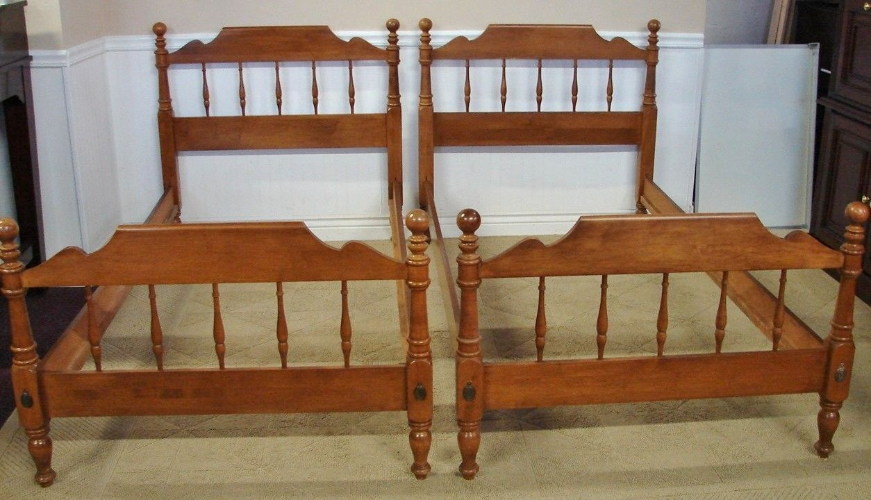 Ethan Allen spindle maple twin bed frames...I bought two