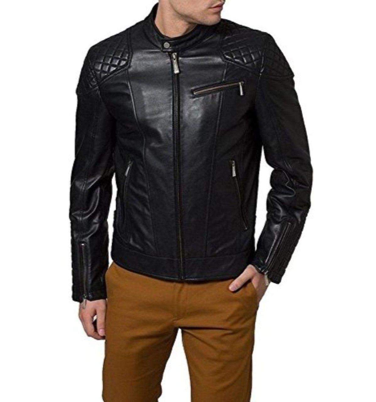 New Handmade Men S Black Quilted Style Biker Leather Jacket Mens Leather Jacket Biker Leather Jacket Brands Leather Jacket Men [ 1280 x 1197 Pixel ]