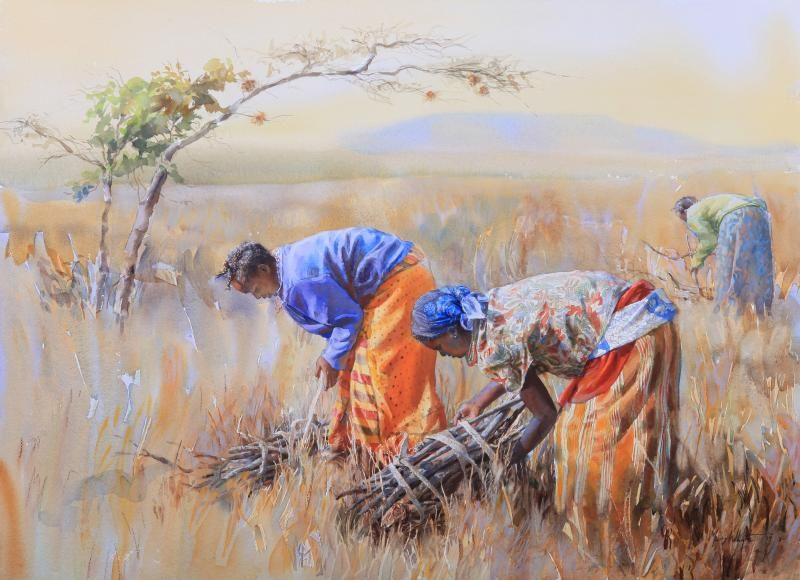 Stick Gatherers, Kenya by Mary Whyte | American Watercolor ...