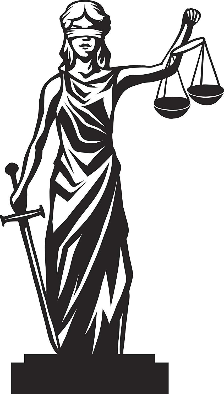 Amazon Com Black And White Goddess Lustitia Lady Justice Cartoon Vinyl Sticker 8 Tall Automotive Lady Justice Justitia Cute Bear Drawings