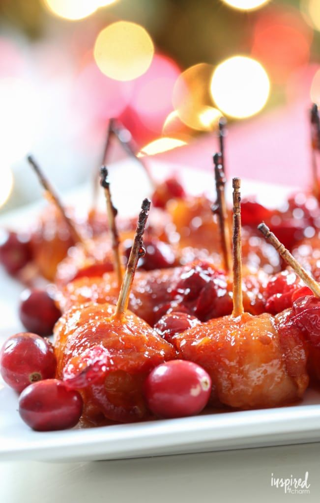 These Cranberry Bacon Wrapped Water Chestnuts make the perfect Christmas appetizer recipe.