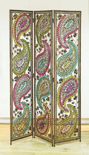 Arthouse Room Divider Screen 3 Panels 2 Fold Ethnic Paisley Metal - flanell fleece bettwasche kalten winterzeit