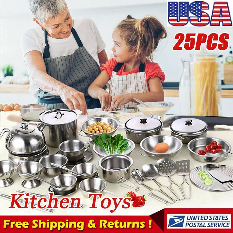 25pcs Childrens Kids Play Kitchen Toys Set Food Stainless Steel