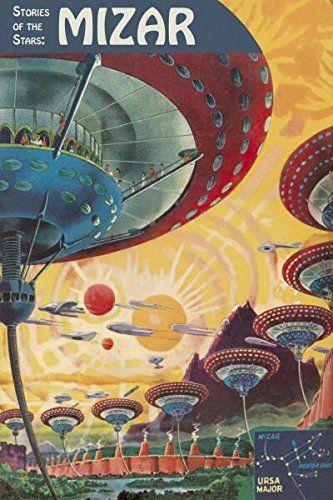 Retro futuristic 1950/'s Sci-Fi Robots Aliens Quilting Fabric Block