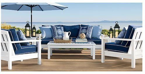 White Patio Furniture With Blue Cushions. Classic Cape Cod Look.